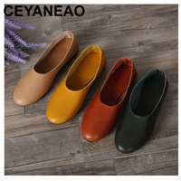 CEYANEAO Woman Shoes Flat Genuine Leather Slip on Ballet Flats Anti slip Ladies Flat Shoes Female Footwear large size(1605)