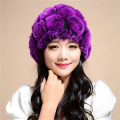 2016 autumn and winter   Rabbit fur hat knitting wool winter lady warm thick wool cap tide flowers /17 color.TM13
