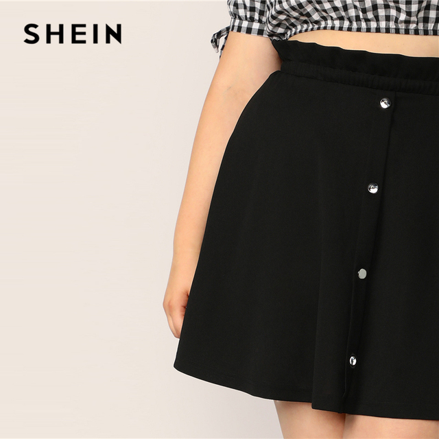 SHEIN Plus Size Black Paperbag Waist Button Up Flare Skirt  2019 Women Summer Casual A Line Solid Big Size Above Knee Mini Skirt 4