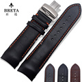 23mm T035617A T035439 T035407 T035410 High Quality Silver Butterfly Buckle Brown Black Genuine Leather curved 24m Watchband22MM