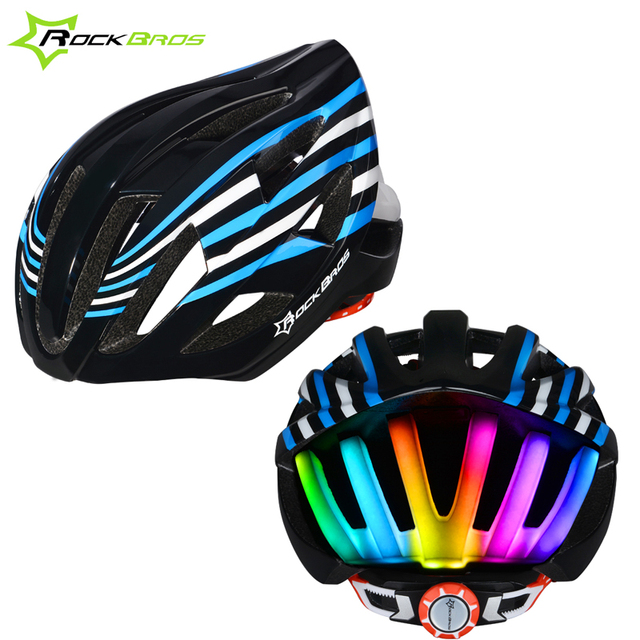 baf4478dd1872 US $61.41 |ROCKBROS Electric Rainbow Lights Cycling Helmet with LED Safety  Lights Casco Ciclismo Prevail Bicycle Bike Sports In Mold Helmet-in Bicycle  ...