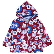 2017 Designer enfants filles vêtements printemps automne chaud veste manteau à capuchon de style fille outwear Veste floral pourpre blanc bleu
