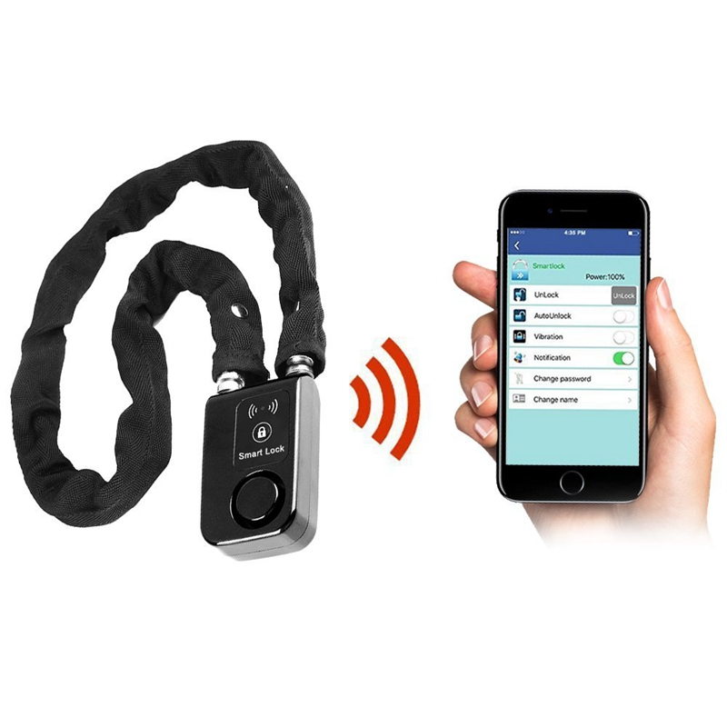 Contrôle intelligent Super Smartphone Bluetooth chaîne en acier serrure étanche Anti-vol alarme vélo vélo serrure