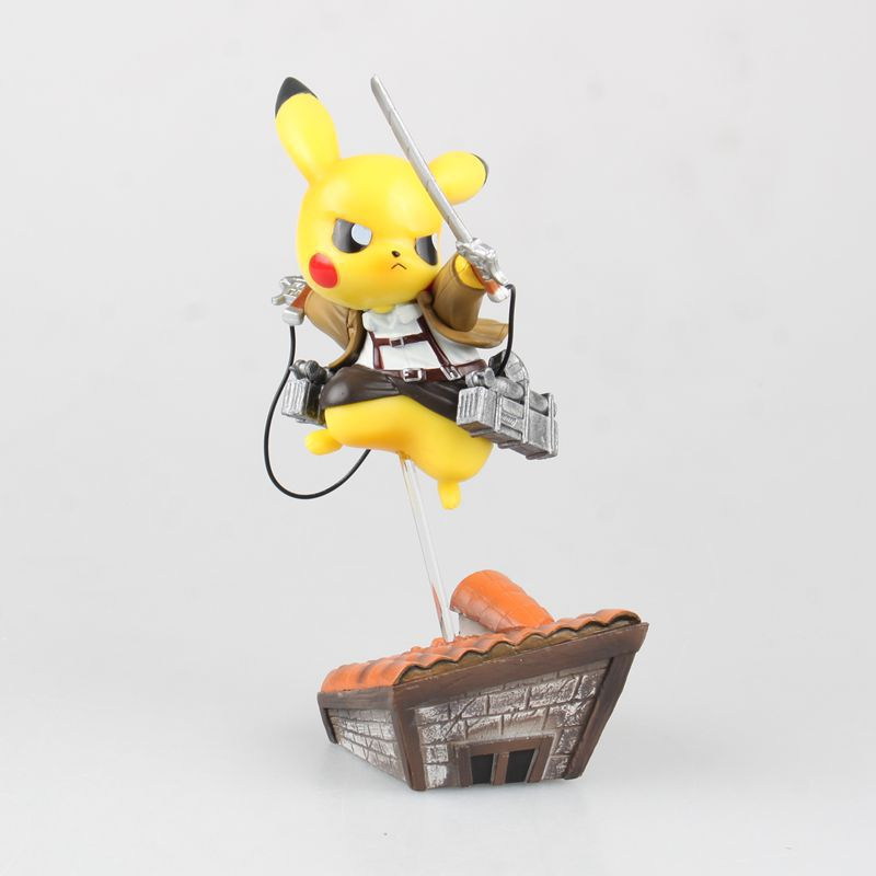 Free Shipping 6 Monster Anime Pikachu cos Levi in Attack on Titan Boxed 15cm PVC Action Figure Collection Model Doll Toy Gift free shipping cool 6 kan colle anime kantai collection mutsu figma boxed 15cm pvc action figure model doll toy gift figma 242