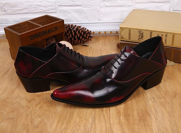 Couro Mens Oxford Alto Escondidos Clássico Patente Lace Negócios Femininos Para Homens Salto De Handmade Apontou Toe Vestido Sapatos Up rwpS0rq