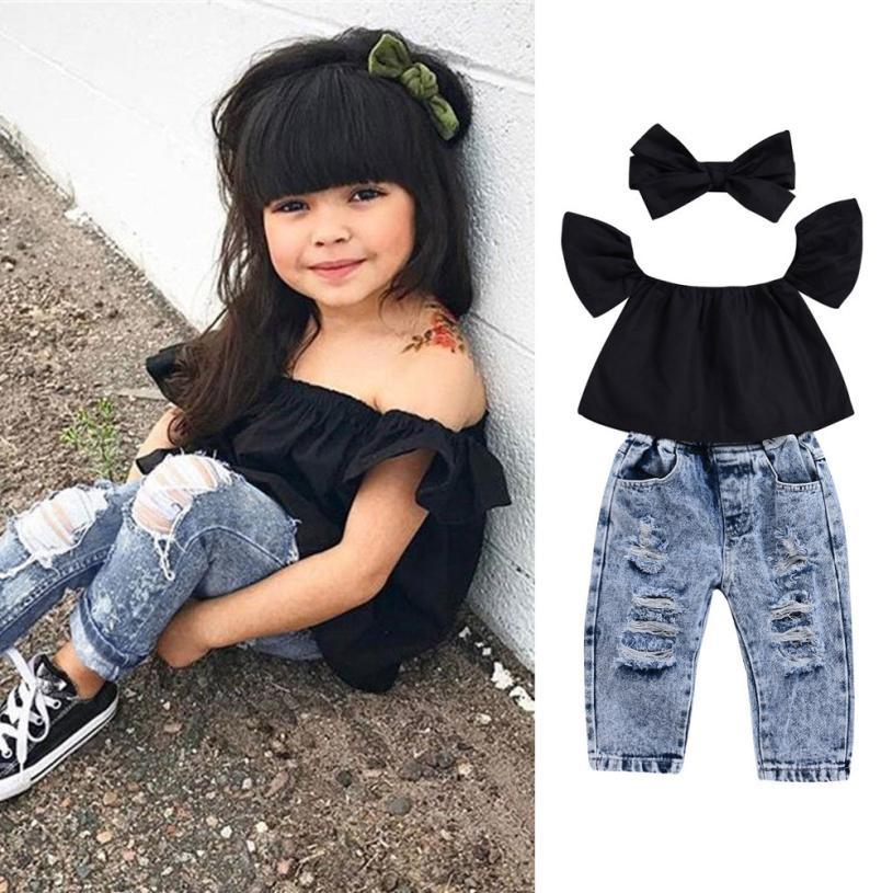 HTB1pqeiL9zqK1RjSZPcq6zTepXaI - 2Pcs Fashion Girls Clothes Set Off Shoulder Tops T-Shirts Denim Pants Ripped Jeans Set Summer Baby Bebes Children Clothing Set