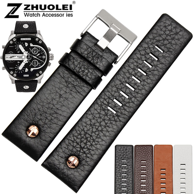 New arrivals High quality rivet watch strap genuine leather bracelet for DZ7271 DZ7312 men s watchband