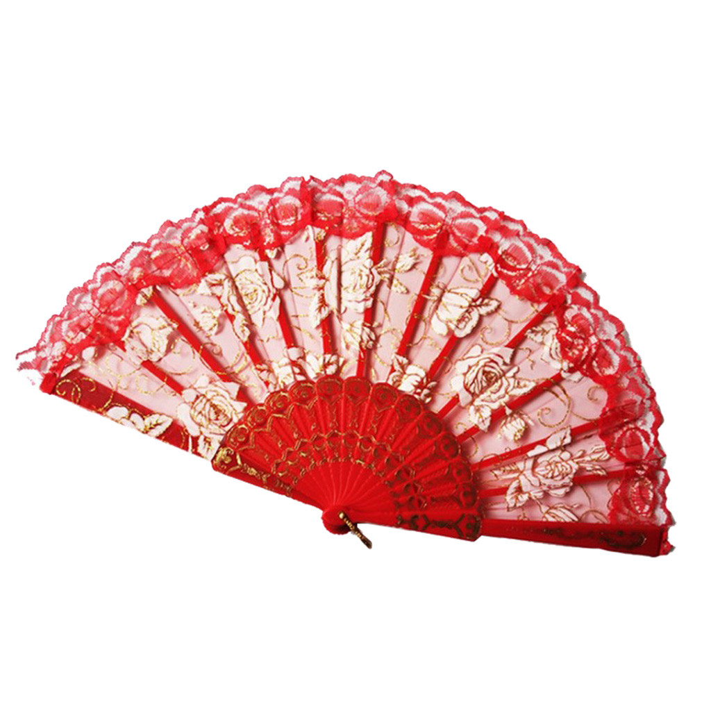 ISHOWTIENDA 2019 New Folding Fans Handheld Fans Bamboo Fans Women's Hollowed Bamboo Hand Holding Fan Hot sale(China)