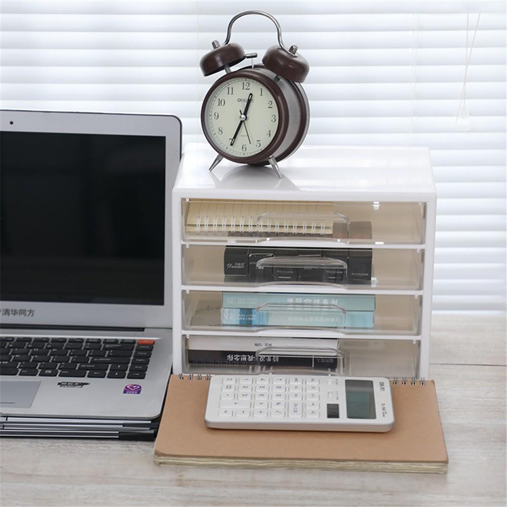 3 Layers Acrylic Plastic Storage Drawer Minimalist Office Desk Storage Drawer Box Organizer Sundries Document Paper Container