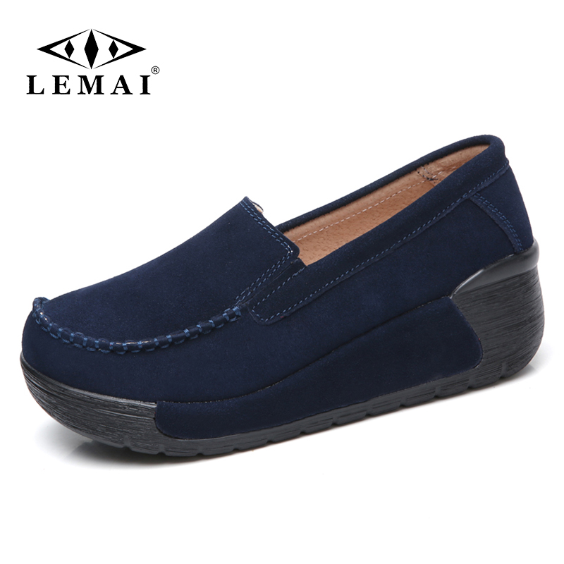 LEMAI Spring Summer Women Platform Loafers Shoes Ladies Suede Leather Cut outs Casual Shoes Woman Slip