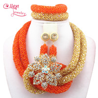 2019 Stylish Yellow Nigerian Wedding African Beads Jewelry Set Handmade Indian Dubai Bridal Necklace Sets Free Shipping W12938