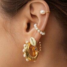 Богемный искусственный жемчуг ухо манжеты для женщин Девушка трендовые круглые маленькие Клипсы Серьги без пирсинга Золотой Металл Свадебное Украшение бижутерия