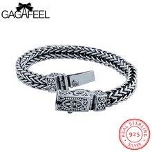 Gagafeel masculina pulsera 925 pulseras de plata de los hombres de joyería de plata tailandesa cuerda cadena 18-21 cm buen regalo para novio