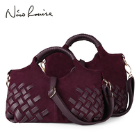 d125cd70a346b Latest Lady Weave Suede Split Leather Handbag Female Leisure Casual Lady  Crossbody Shoulder Bag Messenger Top