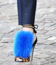 Luxury Blue Fur High Heel Women Sandals Sexy Leopard Ankle Tie-up Gladiator Sandals Women Cut-out Peep Toe Banquet Dress Shoes dijigirls women gladiator sandals peep toe summer ankle boots short cut out bootie slingback rome sandals high heel stilettos