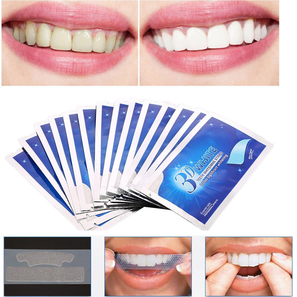 2pcs/bag 3D White Gel Tooth Whitening Strips Oral Hygiene Teeth Cleaning Dry Dental Bleaching Strip Daily Life Easy To Use TSLM2(China)