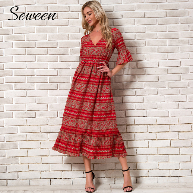 126ce3d57935c Bohemian Chiffon Dress Women Summer 2018 New Arrivals Flare Sleeve V neck  Print Boho Dresses Woman