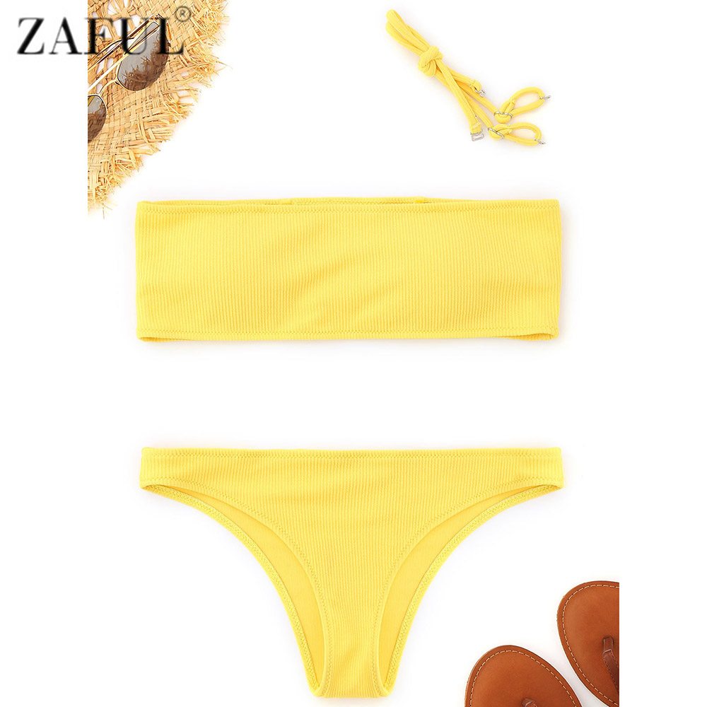 ZAFUL Bandeau Ribbed Bikini Swimwear 2018 New Women Brazilian Bikini Sexy Bathing Suit Maillot De Bain Femme Two-Piece Suits tassel bikini set sexy bikini push up swimsuit women two piece suits bandeau swimwear female maillot de bain femme 2016 new