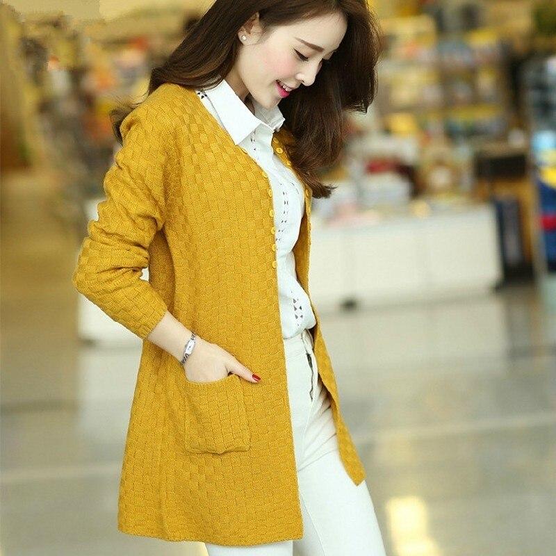 3303fce38 Largo tejer Suéteres y Chaquetas para las mujeres nueva marca 2016 otoño  coreano casual sólido con bolsillo y botón abierto puntada