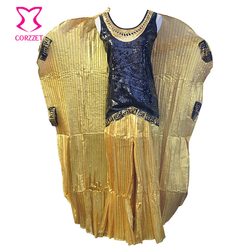 gold ruched and black sequins cleopatra fancy dress with cape