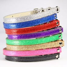 free shipping size XS#1.0*25cm,S#30cm sparkle pu material wire buckle with elastic and bell cat collar pet collar