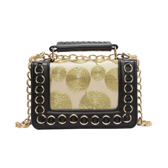 592c46bcd3 New fashion women messenger bags satin lace chain shoulder bags PU leather  patchwork gold crossbody bags