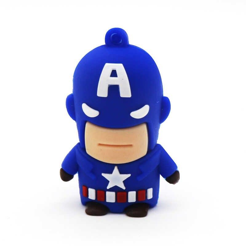 Super Heros น่ารัก USB Flash Drive 32GB 64GB ไดรฟ์ปากกา 128GB U disk 16GB 8GB 4GB Funny Pendrive Memory Stick