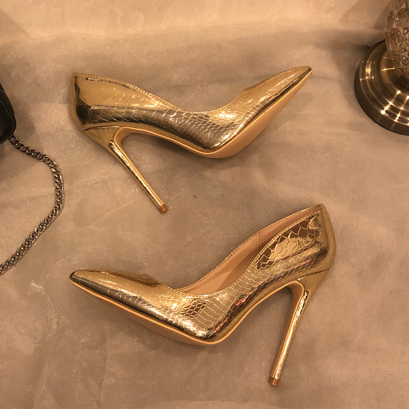 Free shipping fashion women Designer Brand New gold snake patent leather point toe high heels pumps shoes Stiletto 12cm 10cm 8cm