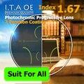 Взрослый 1.67 Freeform Индекс Фотохромные Переход Прогрессивные Мультифокальные Дополнение Оптический Рецепт Объектив Очки 7 Покрытие