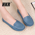 HKR 2017 spring women flats shoes women genuine leather shoes woman cut out loafers shoes slip on ballet flats candy flats 169