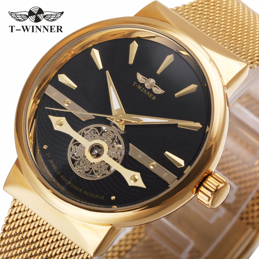 WINNER Classic Golden Men Automatic Mechanical Watch Mesh Strap Skeleton Dial Luxury Design Wristwatch Best Bless Gift For Dad winner luxury ultra thin golden men auto mechanical watch mesh strap bird pattern skeleton dial top fashion style wristwatch