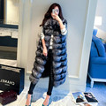 2016 Autumn winter high-quality fluffy imitation fox fur vest women long vest casual fur coat lengthened plus size XXXXL Women's