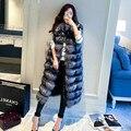 2016 Otoño invierno mujeres chaleco de piel de zorro de imitación esponjoso de alta calidad abrigo de piel largo chaleco ocasional alargado más Mujeres del tamaño XXXXL de