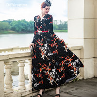 High Quality Newest Stylish Autumn Fall Designer Women's Flare Sleeve Wonderful Flowers Jacquard Long Dress 8009