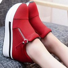 Spring summer Wedges Women Boots 2017 Platform Shoes Woman Creepers Slip On Ankle Boots Fashion Flats Casual Women Shoes 0098