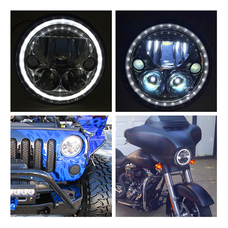 car motorcycle Round 7 inch led headlight 12V Projector Lamp with halo angle eye Replace Vision X for  Harley car jee-p wrangler 1pcs 5 75 inch led motorcycle projector daymakers 5 75 inch headlight for harleys dyan h4 hi lo beam lights lamp bulb angle eye