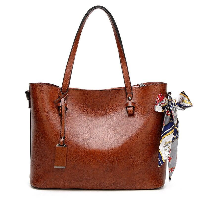Carteras y bolsos grandes de cuero de gran capacidad de lujo para mujer, bufandas con borlas, bufandas con cremallera, bolsos de hombro, bolsos De mujer - 2