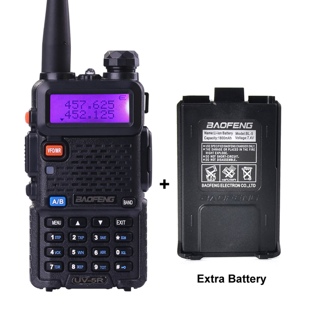 BaoFeng UV-5R Walkie Talkie Portable Radio 5W UV5R Transmitter Transceiver With Extra battery