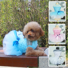 Princess Mesh Wedding Dress for Small Dogs Shiny Sequin Summer Clothes for Chihuahua Girls Lovely Bow Little Puppy Party Dresses цена и фото