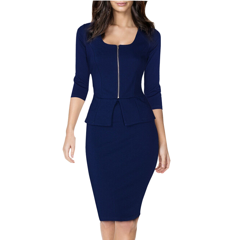 2be70d3e794 New Summer Style Office Solid Zipper Suits Work Outfitss Square Neck  Busniess Peplum Fitted Casual Bodycon Dress For Women-in Dresses from  Women s Clothing ...