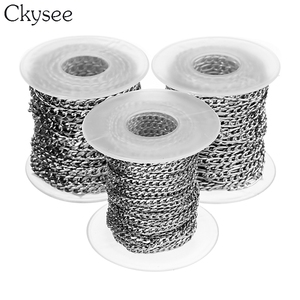 Image 5 - Ckysee 10Yards/Roll 3/4/5mm Width Stainless Steel Bulk Chain Silver Mens Figaro Link Chain Necklaces For Diy Jewelry Making
