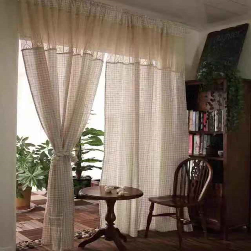 Chic Blue Beige Cotton Linen Plaid Curtains For Boys Bedroom: American Country Style Beige Plaid Splice Lace Crechet