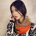 Мода шарф многоцветный лоскутная женщины шарфы трикотажные шеи клобук wrap шаль сгущает зима теплая Кольцо Loop шарф испания