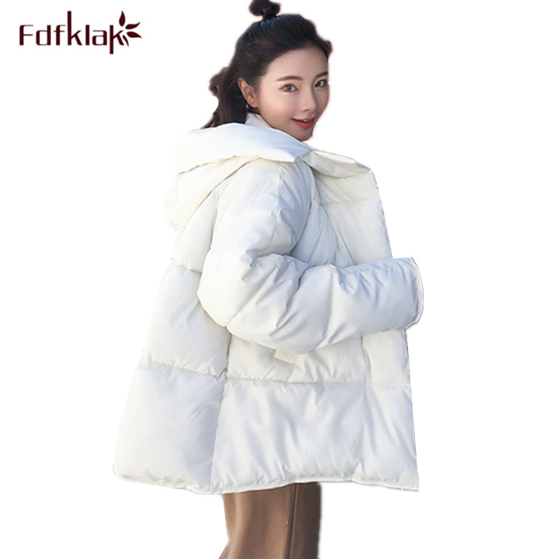 Fdfklak Large size down jacket women winter coat hooded short cotton-padded jackets loose student's   parka   manteau femme hiver