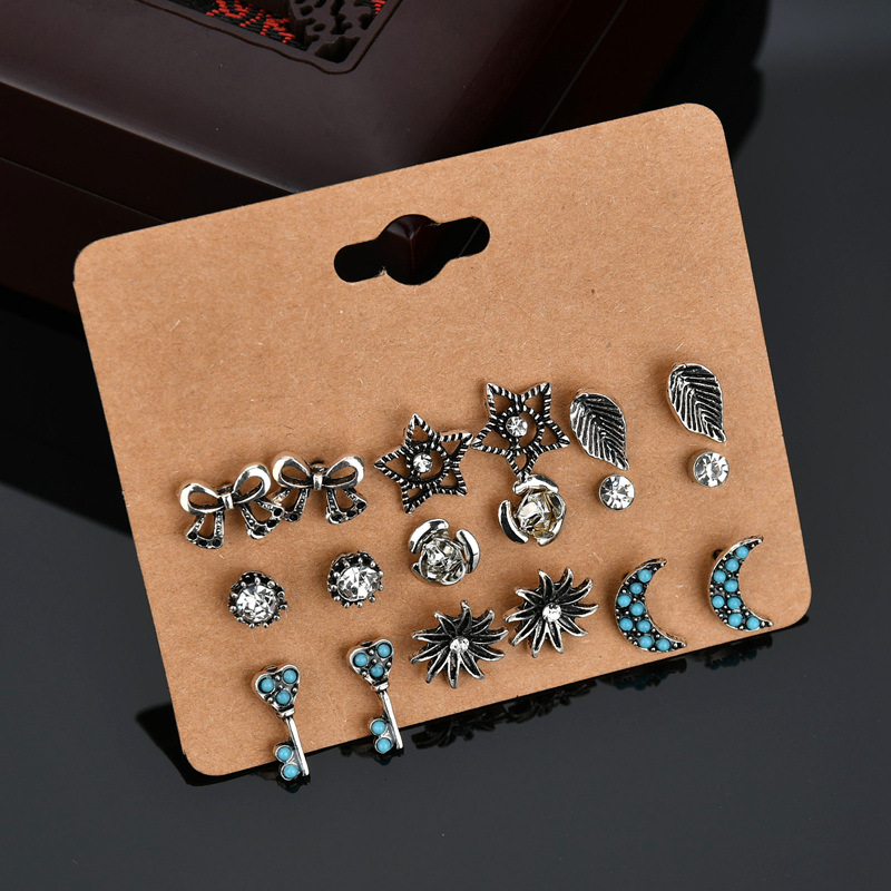 Women and men 9 Pairs Five-pointed Star Bowknot Leaf Moon Key Stud Earring Crystal stone Earrings