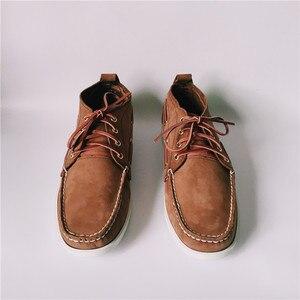 Image 2 - Zapatos planos informales de cuero para Hombre, calzado de moda con cordones, Estilo Vintage, talla 46