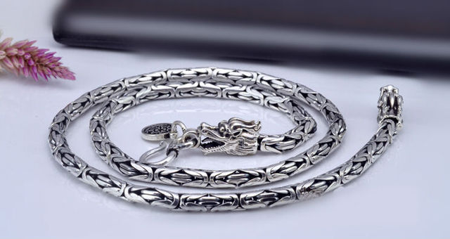 Thai silver long chain necklace handmade Chinese dragon skin design necklace 925 sterling silver male jewelry 47 to 60cm (HY)