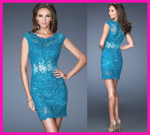2014 Turquoise Cap Sleeve Scoop Lace Bodycon Short Prom Dress Party And Cocktail E5057