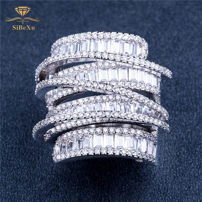 Fashion Wedding Ring Princess S925 Sterling Silver Rings Luxury Elegance Aneis Rhinestone Jewelry Accessories Ornaments