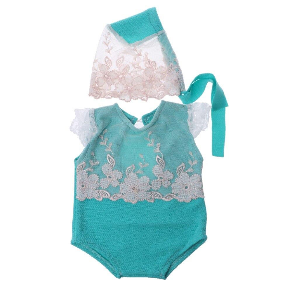 2Pcs/set Newborn Photography Props Baby Girl Lace Hat+  Romper   Infant Photo Shoot Clothes Photo Props Fotografia Accessory 0-1M